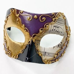 Vintage Balo Coloc Venezian Mask Mardi Gras Music